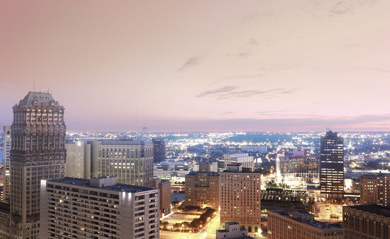 City of Detroit Landscape photographed for multiple Chrysler catalogs