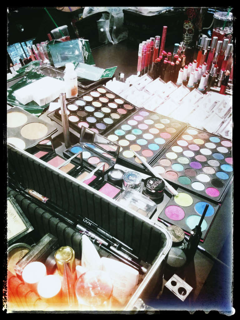 hair and makeup set up